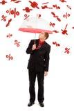 Homem sob por cento de queda Foto de Stock