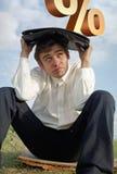 Homem sob a pressão dos por cento Fotografia de Stock Royalty Free