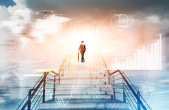 Homem sobre a escadaria na cidade, gráficos Fotografia de Stock