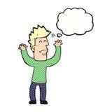 homem stresssed desenhos animados com bolha do pensamento Imagens de Stock Royalty Free