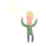 homem stresssed desenhos animados com bolha do pensamento Fotografia de Stock