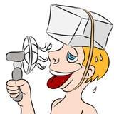 Homem suado quente que tenta permanecer fresco Foto de Stock