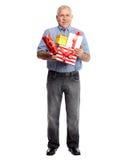 Homem superior com presente Fotos de Stock Royalty Free