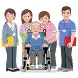 Homem superior de sorriso na cadeira de rodas e equipas de tratamento de nutrição ilustração do vetor