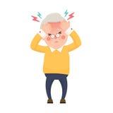 Homem superior doente que tem a dor de cabeça e a alta temperatura ilustração do vetor
