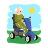 Homem superior em um 'trotinette' da mobilidade Pessoas adultas que movem sobre o 'trotinette' Transporte das pessoas idosas ilustração stock