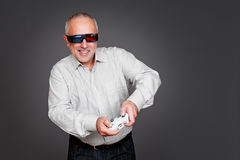 Homem superior Excited com manche Fotos de Stock