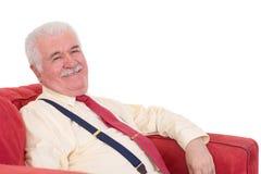 Homem superior jovial com um sorriso de irradiação bonito fotografia de stock royalty free