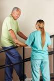 Homem superior na escada rolante Imagens de Stock Royalty Free