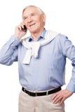 Homem superior no telefone Imagens de Stock