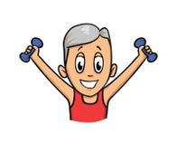 Homem superior que exercita com pesos Ilustração lisa do vetor Isolado no fundo branco ilustração do vetor