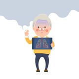 Homem superior que fuma, Lung Problem ilustração do vetor