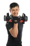 Homem superior que ondula Dumbell Fotografia de Stock