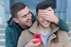 Homem surpreendente seu noivo com um presente fotografia de stock