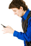 Homem surpreendido com telemóvel Foto de Stock