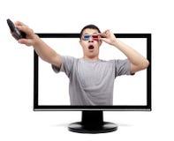 Homem surpreendido com vidros 3D Fotografia de Stock
