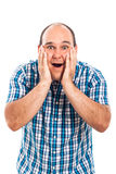 Homem surpreendido feliz foto de stock
