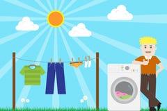 Homem terminado lavando a lavanderia com vetor da máquina de lavar Fotos de Stock