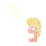 homem terrificado desenhos animados com bolha do pensamento Fotos de Stock Royalty Free
