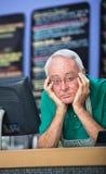 Homem triste no café Imagens de Stock Royalty Free