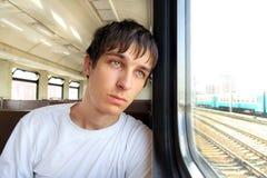 Homem triste no trem Foto de Stock