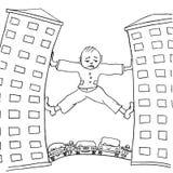 Homem triste que tenta mover a casa, que impedem o transporte urbano caricature ilustração do vetor