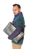 Homem triste solene com mala de viagem Imagem de Stock
