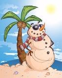 Homem tropical da neve da areia ilustração royalty free