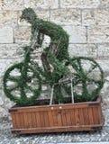 Homem verde em uma bicicleta Fotografia de Stock Royalty Free