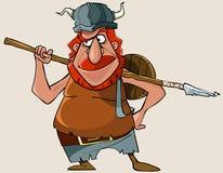 Homem vermelho de viquingue dos desenhos animados com uma arma Fotografia de Stock Royalty Free