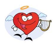 Homem vermelho do coração do anjo feliz ilustração stock