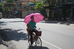 Homem vietnamiano com a bicicleta cor-de-rosa da equitação do guarda-chuva Imagens de Stock Royalty Free