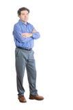 Homem virado do escritório com os braços que cruzam-se sobre sua caixa Foto de Stock Royalty Free