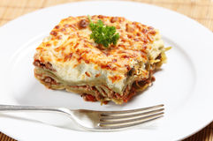 Homemad lasagne side view Stock Photo