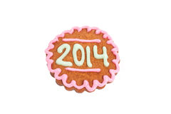 Homemade 2014 cookie isolated on white Royalty Free Stock Photo