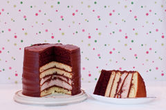 Homemade 7 layer cake and slice royalty free stock image