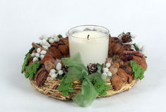 Homemade Advent decoration. With white homemade candle for Christmas Royalty Free Stock Photography