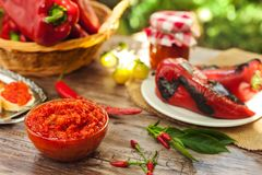 Homemade Ajvar served in bowl on table Royalty Free Stock Photo