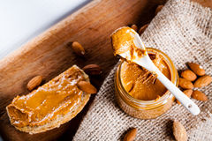 Homemade almond butter. stock photography