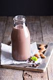 Homemade almond chocolate milk Stock Image