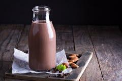 Homemade almond chocolate milk Stock Photography