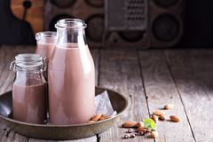 Homemade almond chocolate milk Royalty Free Stock Photos