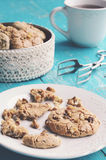 Homemade almond cookies and cup of tea Stock Photography