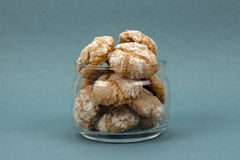 Homemade almond-flavored cookies on blue background Stock Photography