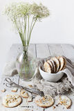 Homemade alternative cookies on bowl on white wooden table Stock Image