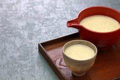 Homemade Amazake, Japanese traditional sweet drink made from rice koji. royalty free stock photos