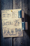 Homemade analog telephone made of string and cans. On old wooden table Stock Image