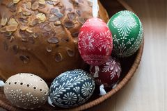 Homemade And Handmade Easter Eggs On Birch Branches On Wooden Tray, Traditional Czech, Easter Egg Hunt, Whip With Ribbons Stock Images