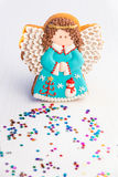 Homemade Angel cookie with Christmas decoration. stock photos