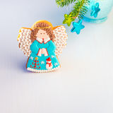 Homemade Angel cookie with Christmas decoration. Royalty Free Stock Image